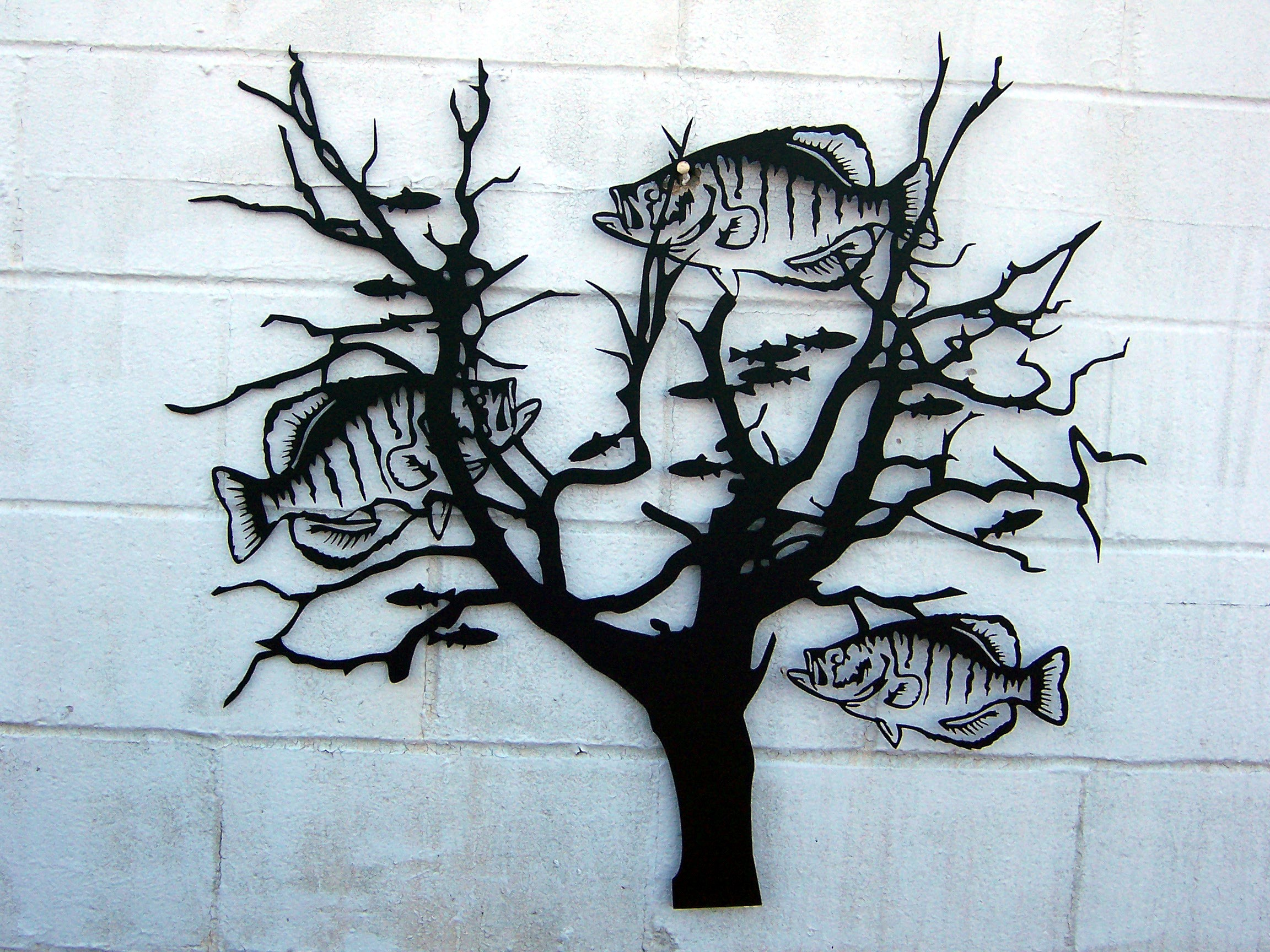 crappie bush : tree scene metal wall art