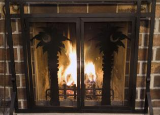 Metal fireplace screens.
