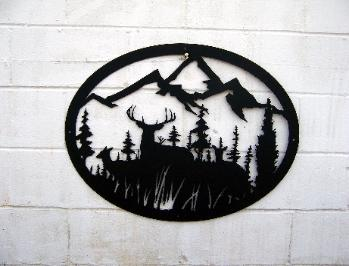 Deer and Mountains wall art. Plasma Designs