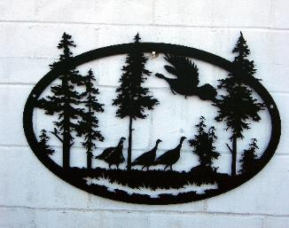 Wild turkey metal art.